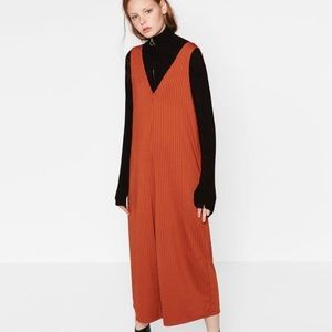Zara Trafaluc Rust Orange Ribbed Jumpsuit Small